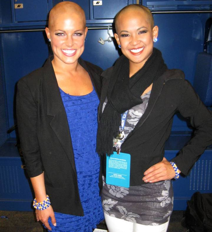 Indianapolis Colts Cheerleaders pose with newly shaved heads