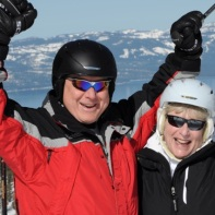 Clay celebrates as he skis Tahoe post knee surgery