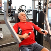 Clay is still going strong as he works out at LA Fitness in San Marcos