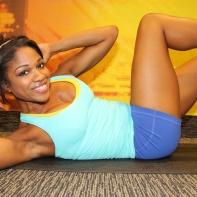 Denita doing ab exercises at LA Fitness