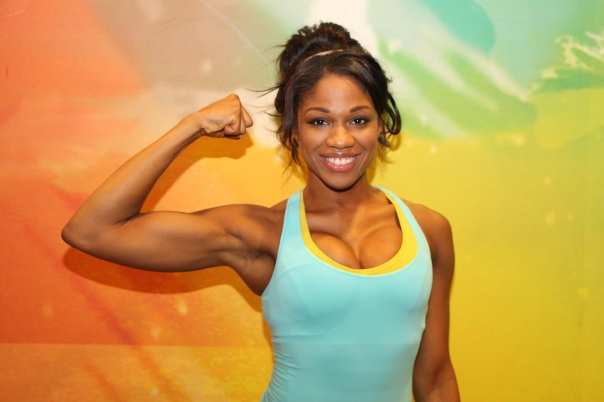 Denita flexes at LA Fitness-2
