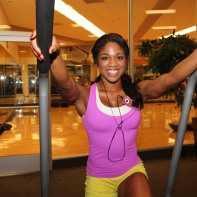 Denita gets on the stairmaster at LA Fitness