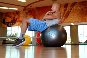 Marc doing an Ab crunch on the stability ball at LA Fitness-2