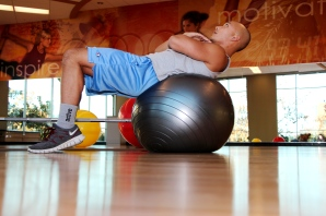Marc doing an Ab crunch on the stability ball at LA Fitness