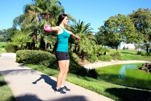 LA Fitness Member Haley doing a lateral raise
