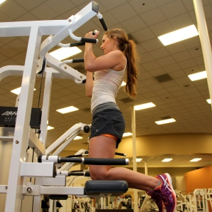 Bailey doing a pull up at la fitness - 2
