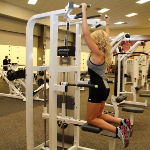 Toni doing a chin up at la fitness - 1
