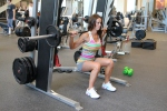 Laura doing a barbell squat at LA Fitness 2