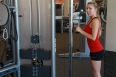 Allysa doing Triceps cable drop sets at LA fitness (1)