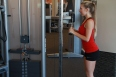Allysa doing Triceps cable drop sets at LA fitness (4)