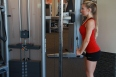 Allysa doing Triceps cable drop sets at LA fitness (5)