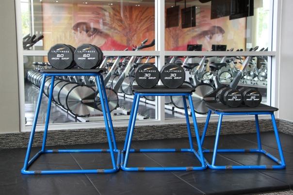 dumbbells-set-up-prior-to-drop-sets-at-LA-Fitness