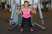 Nico Performing Squat to Shoulder Press at LA Fitness - 3