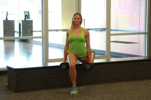 Danica doing split lunge with dumbbells to keep Living Healthy (2)