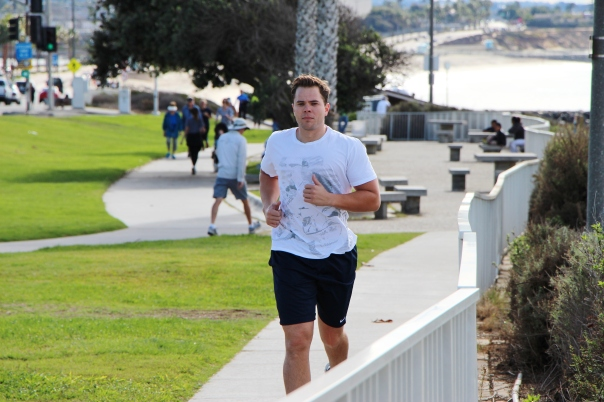 James running outside after a workout at LA fitness