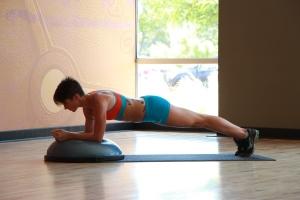 Bethany performing Bosu ball plank - 2