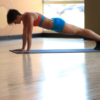 Bethany performing Plank with alternating leg and arm raises - 1
