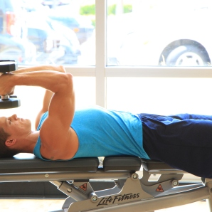 Frank doing dumbbell triceps exercises at LA Fitness (2)
