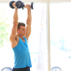 Frank doing dumbbell triceps exercises at LA Fitness (4)