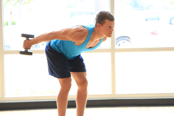 Frank doing dumbbell triceps exercises at LA Fitness (5)