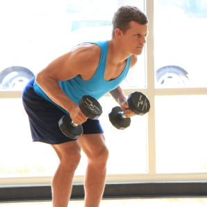 Frank doing dumbbell triceps exercises at LA Fitness (6)