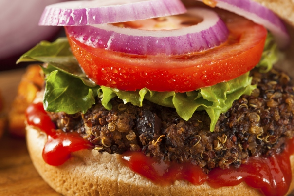 Quinoa and Black bean burger healhty living dinner