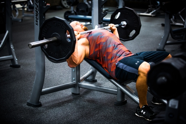 Bench press barbell at LA Fitness with Derek-13